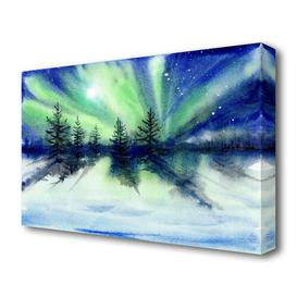 image-'Northern Light Moon Burst Landscape' Painting Print on Canvas East Urban Home Size: 66 cm H x 101.6 cm W