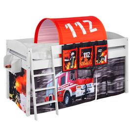 image-Lilla Children Bed In White With Fire Department Curtains