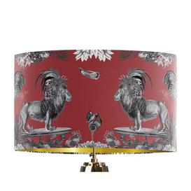image-Classical Jungle Lion 45cm Cotton Drum Table Lamp Shade Bloomsbury Market Colour: Red