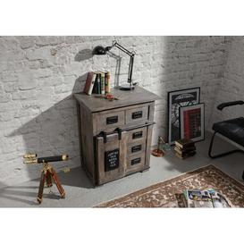 image-Railway 4 Drawer Combi Chest Massivmoebel24 Colour: Grey