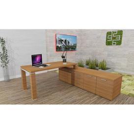 image-Phoebe L-Shape Writing Desk Ebern Designs Colour: Canaletto Walnut, Size: 74cm H x 180cm W x 80cm D