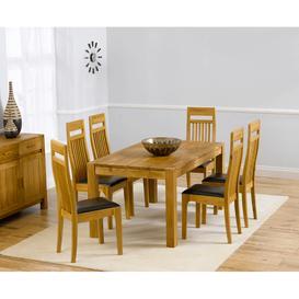 image-Verona Oak Dining Table 150cm & 6 Monte Carlo Chairs Set