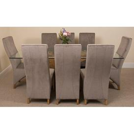 image-Ediz   Oak Dining Set with 8 Chairs Ebern Designs Colour (Chair): Grey