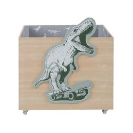 image-Wheeled Toy Chest with Dinosaur Print