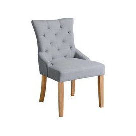 image-Torino Grey Upholstered Scoop Back Dining Chair with Natural Legs
