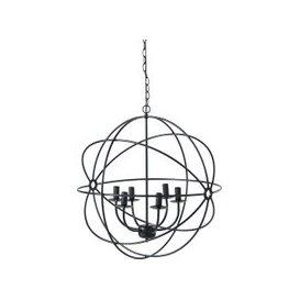 image-Black Metal 6-Arm Spherical Pendant Light
