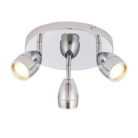 image-Endon 73692 Porto Three Light Round Ceiling Spotlight In Chrome Plate And Clear Glass