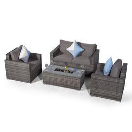 image-Villatoro Grey Rattan 2 Seat Sofa + 2 X Armchairs & Ice Bucket Rectangle Coffee Table, Outdoor Patio Garden Furniture Dakota Fields
