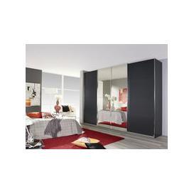 image-Rauch Syncrono 4 Door Mirror Sliding Wardrobe in Metallic Grey - W 316cm