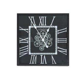 image-56cm Gears Wall Clock Black Silver / Silver