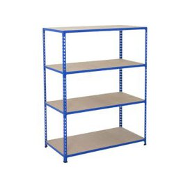 image-Rapid 2 Shelving With 4 Chipboard Shelves 1525wx1980h (Blue), Blue, Free Next Day Delivery