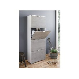 image-Melone Shoe Cabinet Tall In White And Concrete Effect Fronts