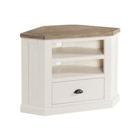 image-Alaya Wooden Corner TV Stand In Stone White Finish