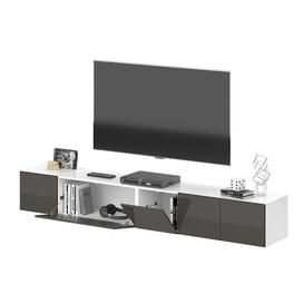 """image-Brecksville TV Stand for TVs up to 70"""" Ebern Designs Colour: Charcoal and high gloss white"""