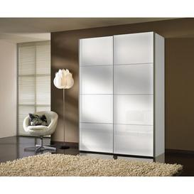 image-Perlis 2 Door Sliding Wardrobe Ebern Designs Size: 216cm H x 150cm W x 68cm D, Finish: White