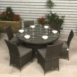 image-Signature Weave Garden Emily Grey 6 Seat Armless Round Dining Set