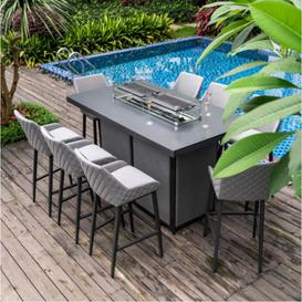 image-Maze Lounge Outdoor Fabric Regal Flanelle 8 Seat Rectangular Fire Pit Bar Set