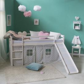image-Melanie European Single Mid Sleeper Bed Mack + Milo Bed Frame Colour: White, Finish: Premium (slide and curtain)