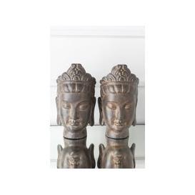image-Morgan Rustic Bronze Thai Buddha Bookends - W 23cm x D 13cm x H 23cm