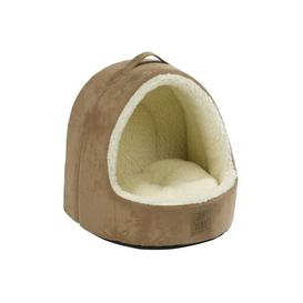image-Lafayette Hooded Suede / Sheepskin Cat Bed in Tan Archie & Oscar