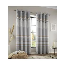 image-Catherine Lansfield Malawa Geo Eyelet Curtains