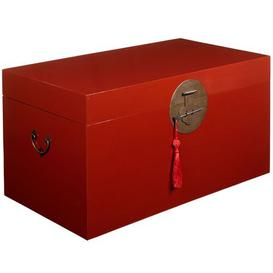 image-Large Wooden Blanket Box Bloomsbury Market Colour: Red Lacquer