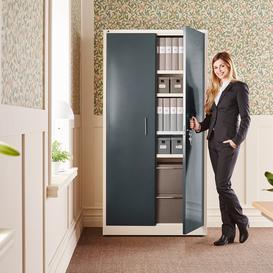 image-Office cabinet SWIFT, 1950x990x450 mm, dark grey metallic