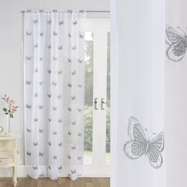 image-Provence Slot Top Sheer Single Curtain Lily Manor Colour: Grey, Size per Panel: 140 W x 137 D cm