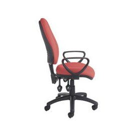image-Full Lumbar 3 Lever Operator Chair With Fixed Arms, Burgundy, Free Delivered & Fully Installed Delivery