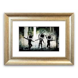 image-'Banksy TV Kids' Framed Graphic Art East Urban Home Size: 50 cm H x 70 cm W, Frame Options: Silver