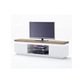 image-Romina Lowboard TV Stand In Knotty Oak And Matt White With LED