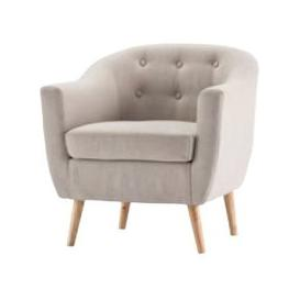 image-Morrill Woven Fabric Accent Chair In Natural With Oak Legs