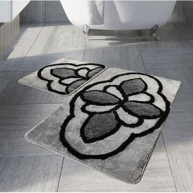 image-Debi 2 Piece Rectangle Non-Slip Bath Mat Set Rosalind Wheeler Colour: Platin