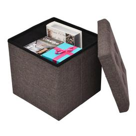 image-1 Seater Folding Storage Ottoman Symple Stuff Upholstery Colour: Brown