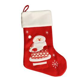 image-Red Fleece Santa Christmas Stocking