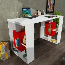 image-Lubin Computer Desk Ebern Designs Colour: White/Red