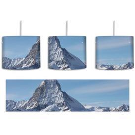 image-Snow-Covered Peak 1-Light Drum Pendant East Urban Home Shade colour: Blue/Grey