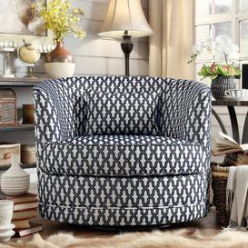 image-Dmitri Swivel Tub Chair ClassicLiving Upholstery Colour: Navy/White
