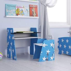 image-Stars Design Kids Desk With Chair In Blue And White