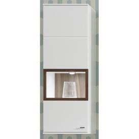 image-Mustafa Wall Mounted Curio Cabinet Mercury Row Colour: Walnut colour, Door Swing: Left-hand hinge, Lighting: Without a light