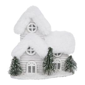 image-A by AMARA Christmas - Snowy Decorative Lit House Ornament - Silver/White