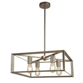 image-Searchlight 2414-4SI Heaton 4 Light Ceiling Pendant Light In Brushed Silver