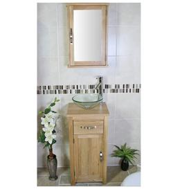 image-Cox Compact Solid Oak 400mm Free-Standing Vanity Unit Belfry Bathroom