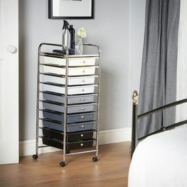 image-Clark 10 Drawer Storage Utility Cart Symple Stuff Colour: Black Ombre