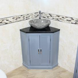 image-Andrin 550mm Free-Standing Vanity Unit Ebern Designs Vanity Unit Colour: Grey, Top Finish: Grey Quartz