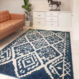 image-Navy Blue Traditional Moroccan Living Room Rug - Mexicana