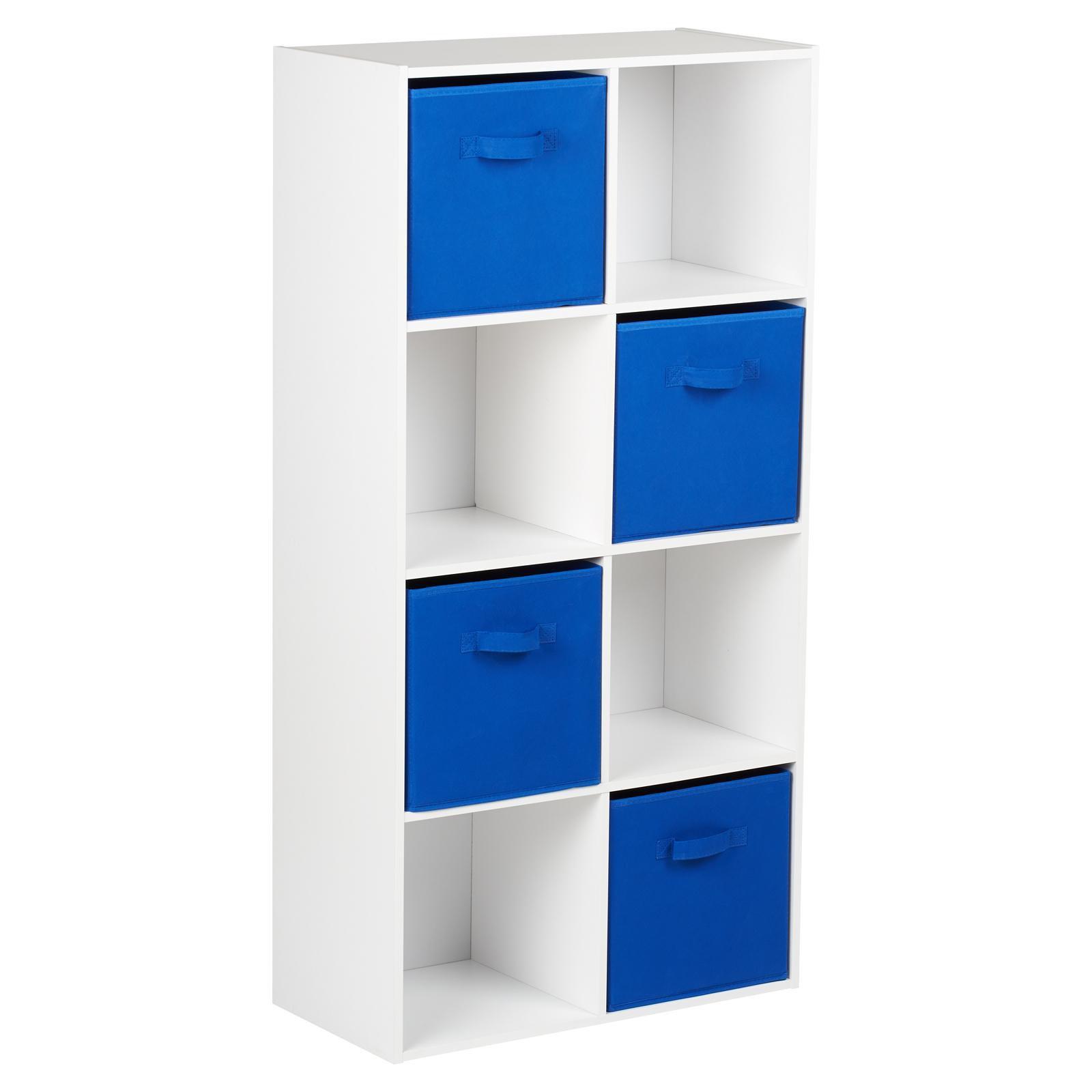 image-Hartleys White 8 Cube Storage Unit & 4 Blue Handled Box Drawers