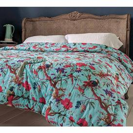 image-Blossom in Paradise Blue Cotton Quilted Bedspread