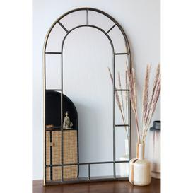 image-Antique Gold Arched Window-Style Mirror