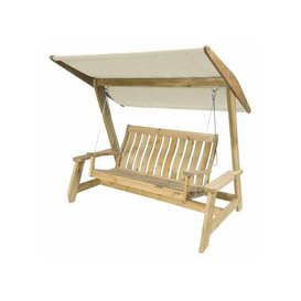 image-Alexander Rose Pine Farmers Swing Seat Replacement canopy - Ecru